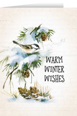 Warm Winter Wishes with Vintage Bird in Snow Christmas Card (box of 25)