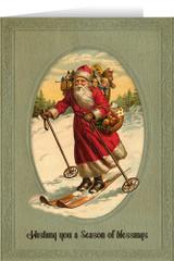 Vintage Santa Skiing Christmas Card (box of 25)
