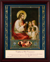 Traditional First Communion Certificate with Gold Accents in Cherry Frame