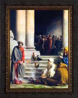 The Denial of Peter by Carl Bloch - Ornate Dark Framed Art
