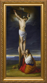 Crucifixion with Mary Magdalene Kneeling and Weeping by Francesco Hayez - Standard Gold Framed Art