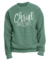 """Christ Beside Me"" St. Patrick Heather Green Crewneck Sweatshirt"