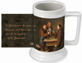 "G.K. Chesterton ""Pint, Pipe and Cross"" Quote Beer Stein"