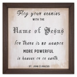 """Flog  Your Enemies"" Rustic Framed Quote"