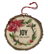 "Vintage ""Joy to the World"" Poinsettia Wood Ornament"