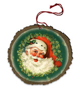Vintage Santa Face Wood Ornament