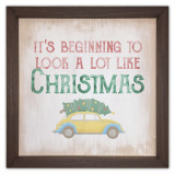 Beginning to Look a Lot Like Christmas Rustic Framed Quote