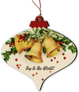 Joy to the World Holly Bells Vintage Ornament