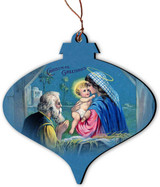 Vintage Christmas Greetings Nativity Ornament