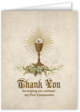 Vintage Chalice First Communion Thank You Note Card
