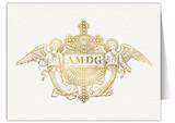 AMDG Angels Woodcut Note Card