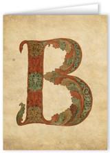 Letter B Illuminated Manuscript Note Card