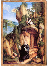 St. Benedict in Prayer by The Meister von Meßkirch Cloister Collection Catholic Icon Plaque