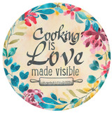 Cooking is Love Round Glass Cutting Board