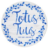 """Totus Tuus"" Round Glass Cutting Board"