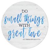 """Do Small Things"" Round Glass Cutting Board"