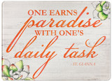 """One Earns Paradise"" Rectangular Glass Cutting Board"