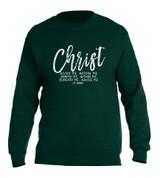 """Christ Beside Me"" St. Patrick Forest Green Crewneck Sweatshirt"
