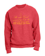 """Be Who God Meant You to Be"" Heather Red Crewneck Sweatshirt"