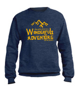 """Wonderful Adventure"" Heather Navy Crewneck Sweatshirt"