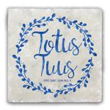 Totus Tuus Tumbled Stone Coaster