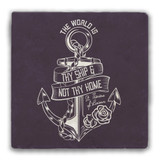 """""""The World is Thy Ship"""" Tumbled Stone Coaster"""