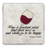 """Wine is Constant Proof"" Tumbled Stone Coaster"