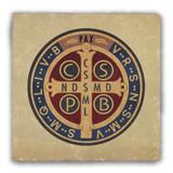 Benedictine Medal Front Tumbled Stone Coaster