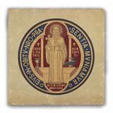 Benedictine Medal Back Tumbled Stone Coaster