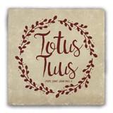 """""""Totus Tuus"""" Warm Tumbled Stone Coaster"""