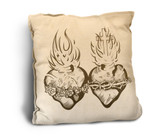 Sacred and Immaculate Hearts Rustic Pillow