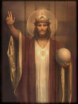 Christ the King by Chambers Restored Rustic Wood Plaque
