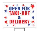 Open for Take-Out & Delivery Yard Sign