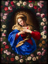 Our Lady in a Garland of Roses Rustic Wood Plaque