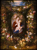 Virgin and Child Surrounded by Flowers and Fruit Rustic Wood Plaque