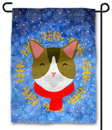 Cute Cat with Scarf Outdoor Garden Flag