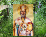 Saint Nicholas Icon Outdoor Garden Flag