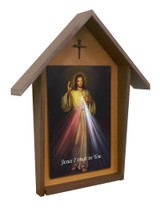 Divine Mercy Deluxe Poly Wood Outdoor Shrine