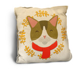 Cute Cat with Scarf Rustic Pillow
