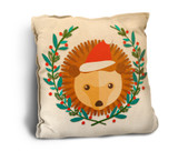 Cute Hedgehog with Santa Hat Rustic Pillow