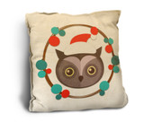Cute Owl with Santa Hat Rustic Pillow