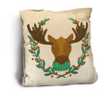 Cute Moose with Scarf Rustic Pillow