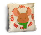 Cute Mouse with Scarf Rustic Pillow