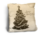 """Merry Christmas"" with Tree Rustic Pillow"