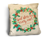 """God Bless Us, Every One"" Rustic Pillow"