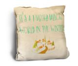 """Marshmallow World"" Rustic Pillow"