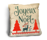 """Joyeux Noel"" Rustic Pillow"