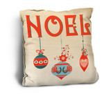 """Noel"" with Ornaments Rustic Pillow"