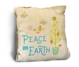 """Peace on Earth"" with Birds Rustic Pillow"