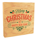 "Holly and Snowflake ""Merry Christmas and a Happy New Year"" Rustic Box Art"